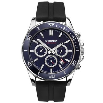 Sekonda Men's Dual Time Black Rubber Strap Watch - Product number 4371704