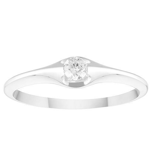 9ct White Gold 1/10ct Diamond Solitaire Ring - Product number 4372395