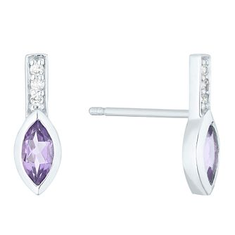9ct White Gold Amethyst & Diamond Stud Earrings - Product number 4373197