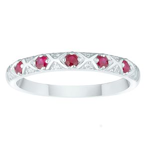 9ct White Gold Ruby & Diamond Ring - Product number 4374290