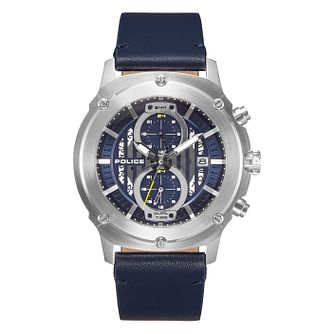 Police Lulworth Men's Blue Leather Strap Watch - Product number 4379446
