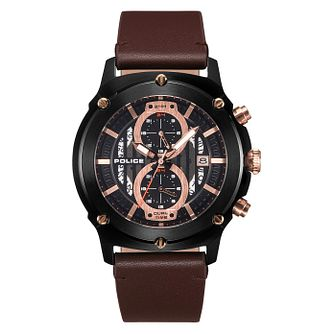 Police Lulworth Men's Brown Leather Strap Watch - Product number 4379454