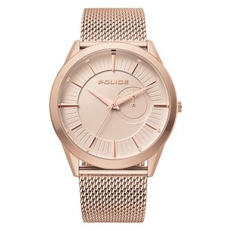 Police Helder Men's Rose Gold Tone Mesh Bracelet Watch - Product number 4379470