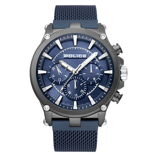 Police Taman Men's Blue Stainless Steel Mesh Bracelet Watch - Product number 4379594