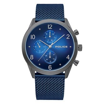 Police Silfra Men's Blue Stainless Steel Mesh Bracelet Watch - Product number 4379675