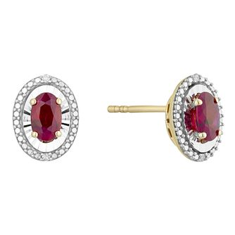 9ct Yellow Gold Treated Ruby & Diamond Oval Stud Earrings - Product number 4380681