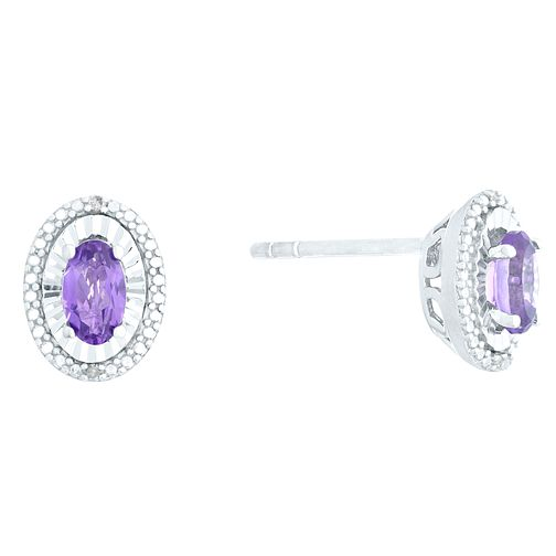 Sterling Silver Amethyst & Diamond Oval Stud Earrings - Product number 4380703