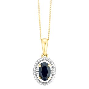 9ct Yellow Gold Black Sapphire & Diamond Oval Pendant - Product number 4380762