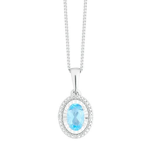 Sterling Silver Blue Topaz & Diamond Oval Pendant - Product number 4381521