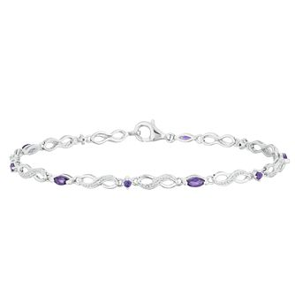 Sterling Silver Amethyst & Diamond Bracelet - Product number 4381548