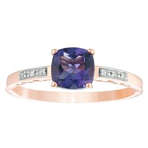 9ct Rose Gold Amethyst & Diamond Cushion Shaped Ring - Product number 4381920
