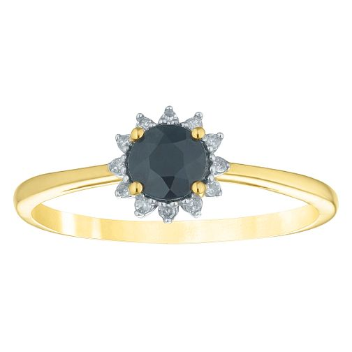 9ct Yellow Gold Sapphire & Diamond Round Halo Ring - Product number 4382072