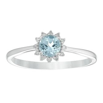 9ct White Gold Aquamarine & Diamond Round Halo Ring - Product number 4383915