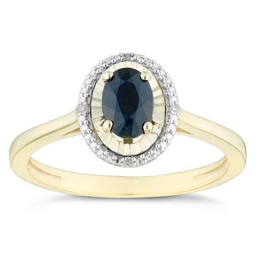 9ct Yellow Gold Black Sapphire & Diamond Oval Ring - Product number 4384881