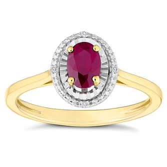 9ct Yellow Gold Treated Ruby & Diamond Oval Shaped Ring - Product number 4386205