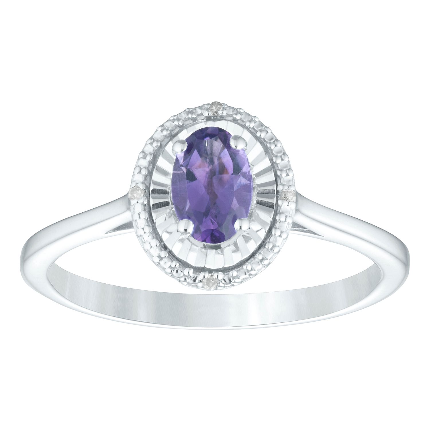 Sterling Silver Amethyst & Diamond Oval Ring - Product number 4386361