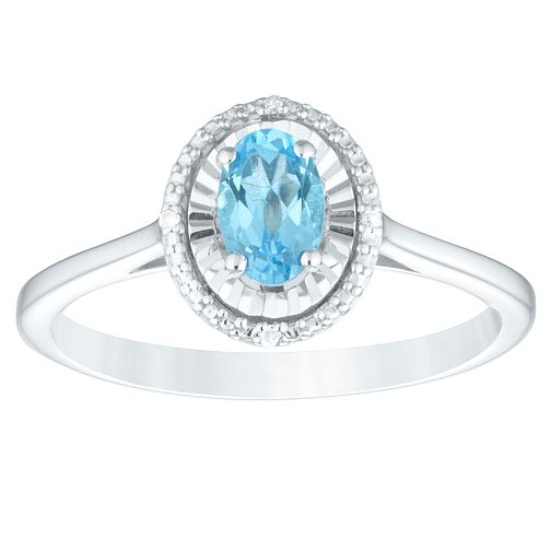 Sterling Silver Blue Topaz & Diamond Oval Ring - Product number 4386647