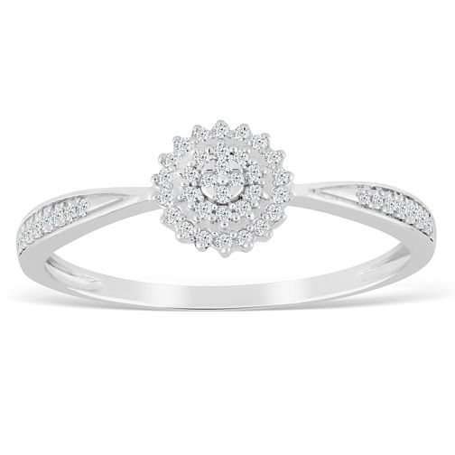 9ct White Gold 1/10ct Diamond Cluster Ring - Product number 4387414