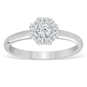 9ct White Gold 1/3ct Diamond Flower Cluster Ring - Product number 4388399