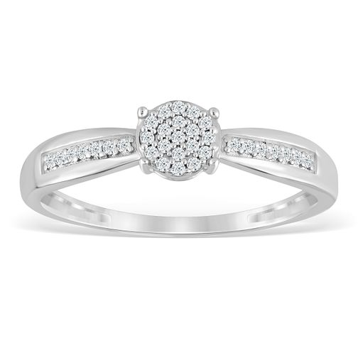 Sterling Silver & Diamond Round Cluster Ring - Product number 4388534
