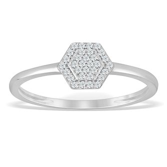 Sterling Silver & Diamond Hexagonal Cluster Ring - Product number 4389069