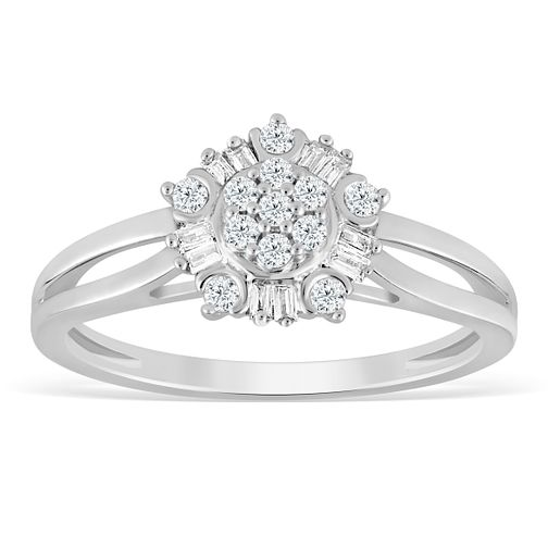 9ct White Gold 1/5ct Diamond Flower Cluster Ring - Product number 4389190