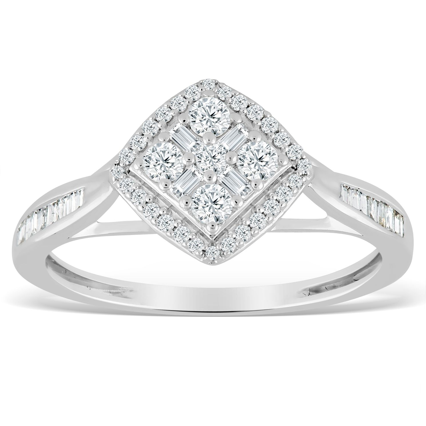 9ct White Gold 1/3ct Diamond Cushion Cluster Ring - Product number 4389719