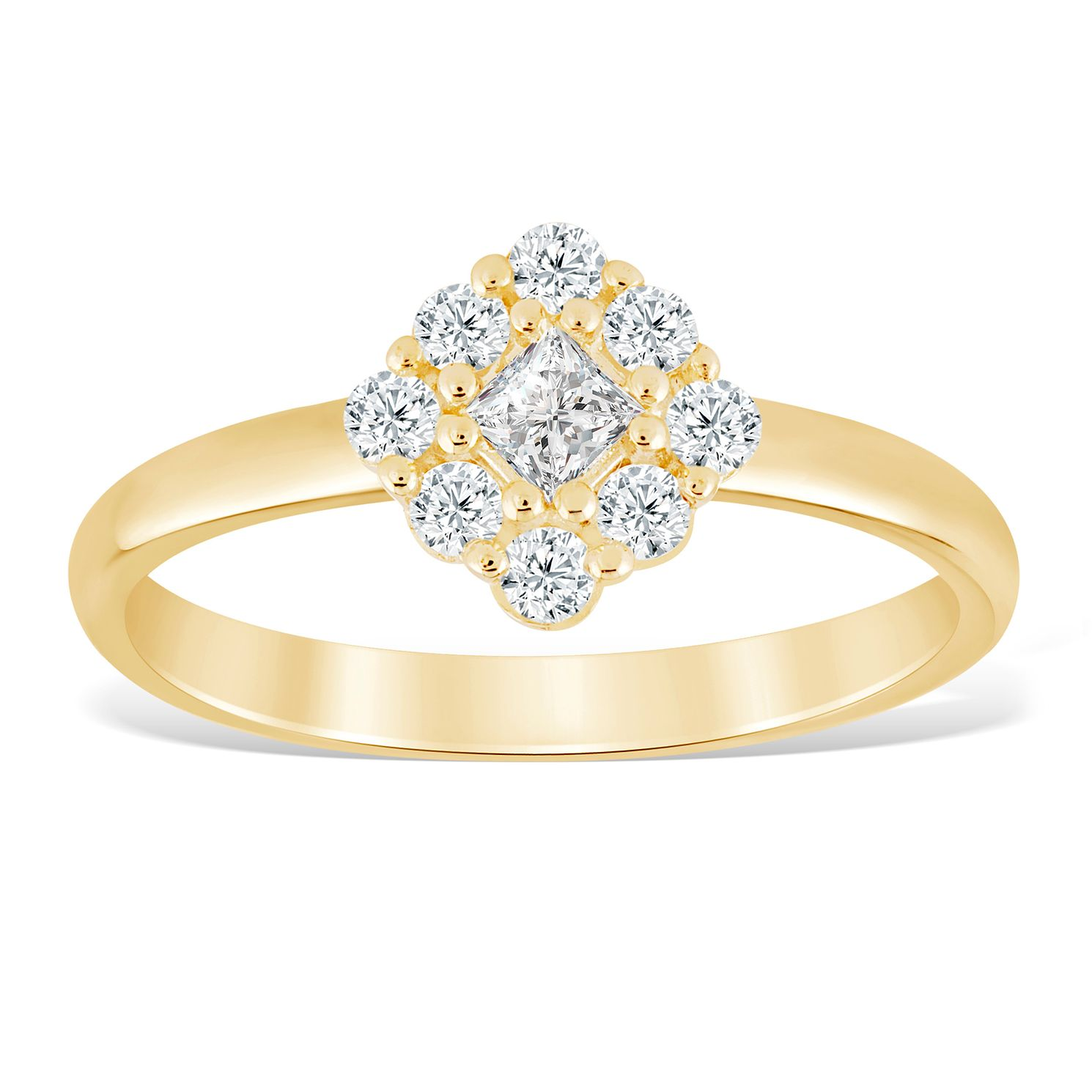 9ct Yellow Gold 1/3ct Diamond Cushion Cluster Ring - Product number 4390369