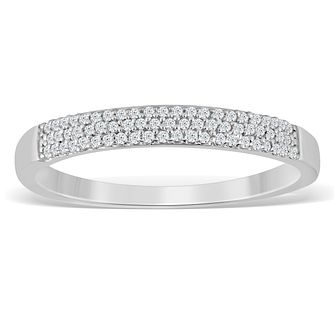 9ct White Gold 1/10ct Diamond Pave Set Eternity Ring - Product number 4390768