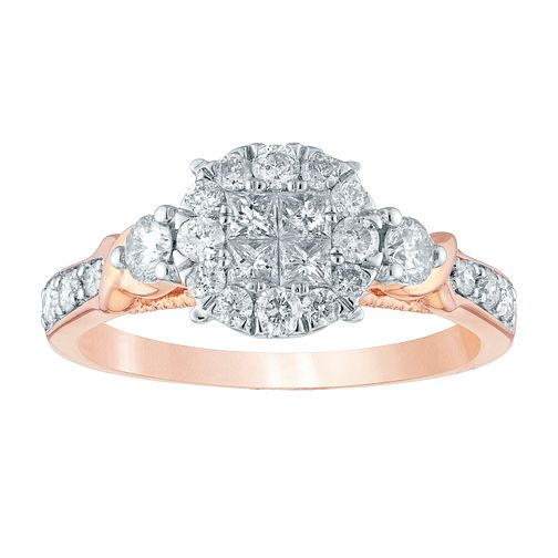 Princessa 9ct Rose Gold 2/3ct Diamond Cluster Ring - Product number 4392604