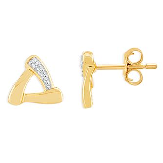 9ct Yellow Gold & Diamond Triangle Stud Earrings - Product number 4392892