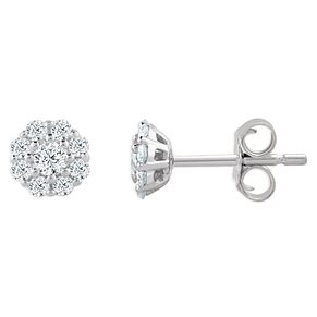 9ct White Gold 1/5ct Diamond Flower Cluster Stud Earrings - Product number 4393163