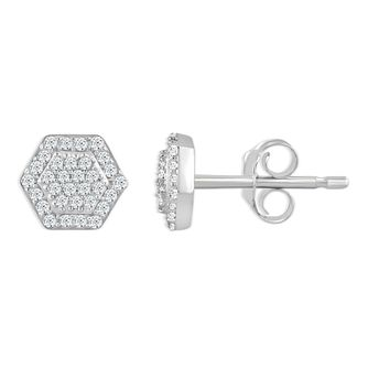 Sterling Silver 0.12ct Diamond Hexagon Shaped Stud Earrings - Product number 4393228