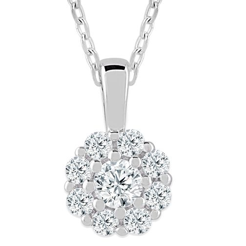 9ct White Gold 1/5ct Diamond Flower Cluster Pendant - Product number 4393295