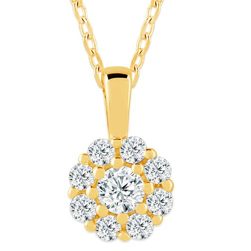 9ct Yellow Gold 1/5ct Diamond Flower Cluster Pendant - Product number 4393570