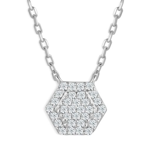 Sterling Silver Diamond Hexagon Shaped Pendant - Product number 4393600