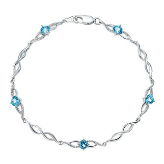 Sterling Silver Blue Topaz & Diamond Bracelet - Product number 4394380