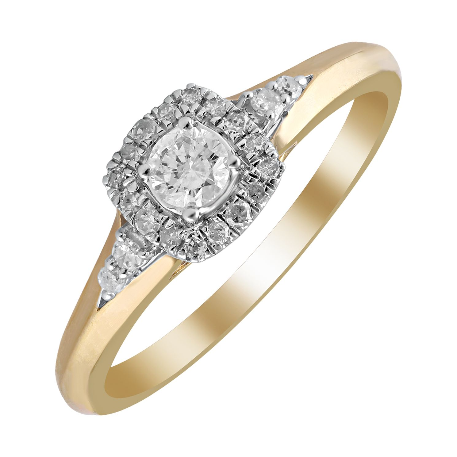 9ct Yellow Gold 1/4ct Diamond Cushion Halo Ring - Product number 4395867