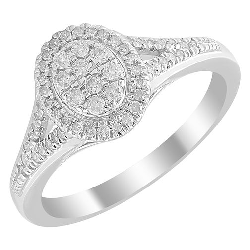 9ct White Gold 1/4ct Diamond Oval Cluster Ring - Product number 4396294