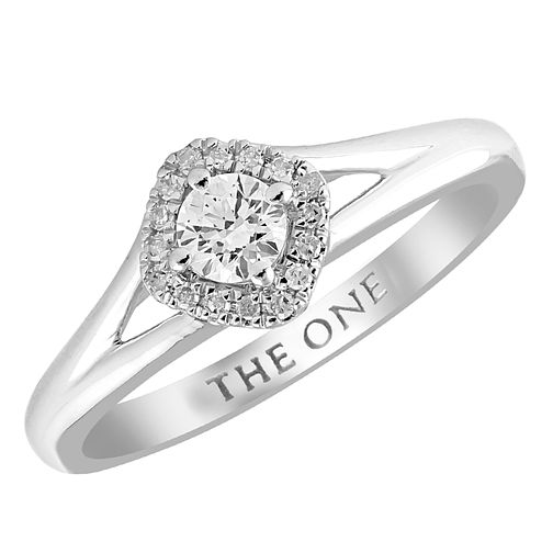 The One 9ct White Gold 1/4ct Diamond Cushion Halo Ring - Product number 4398203