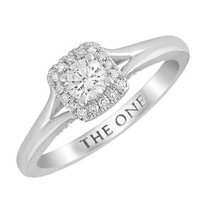 The One 9ct White Gold 1/3ct Diamond Cushion Halo Ring - Product number 4398351