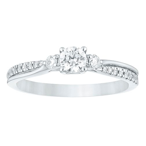 Palladium Three Stone 2/5ct Forever Diamond Ring - Product number 4401271