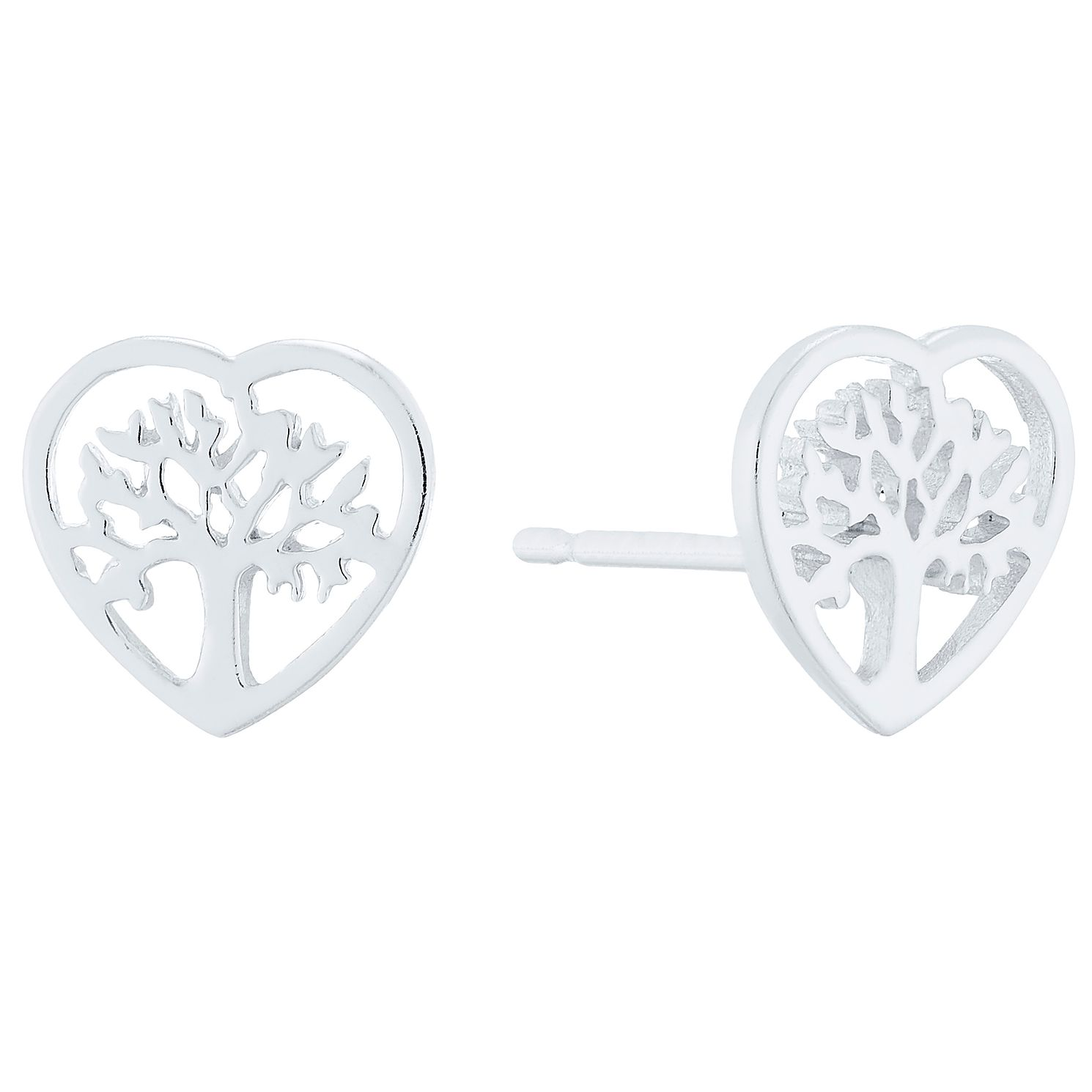 Sterling Silver Tree Of Life Design Heart Stud Earrings - Product number 4401905