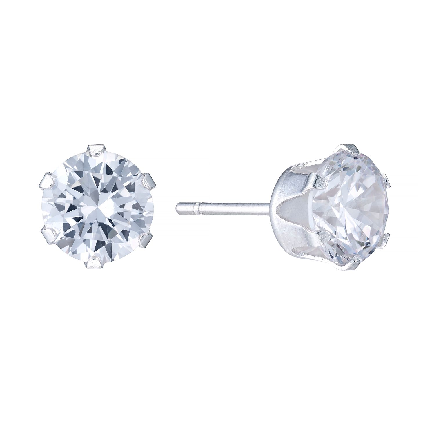 Sterling Silver Cubic Zirconia 7mm Stud Earrings - Product number 4402065