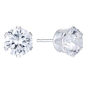 Sterling Silver 8mm Cubic Zirconia Stud Earrings - Product number 4402073