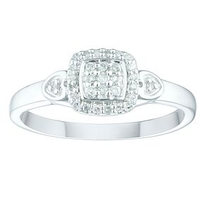 Sterling Silver 1/10ct Diamond Cushion Cluster Ring - Product number 4402723