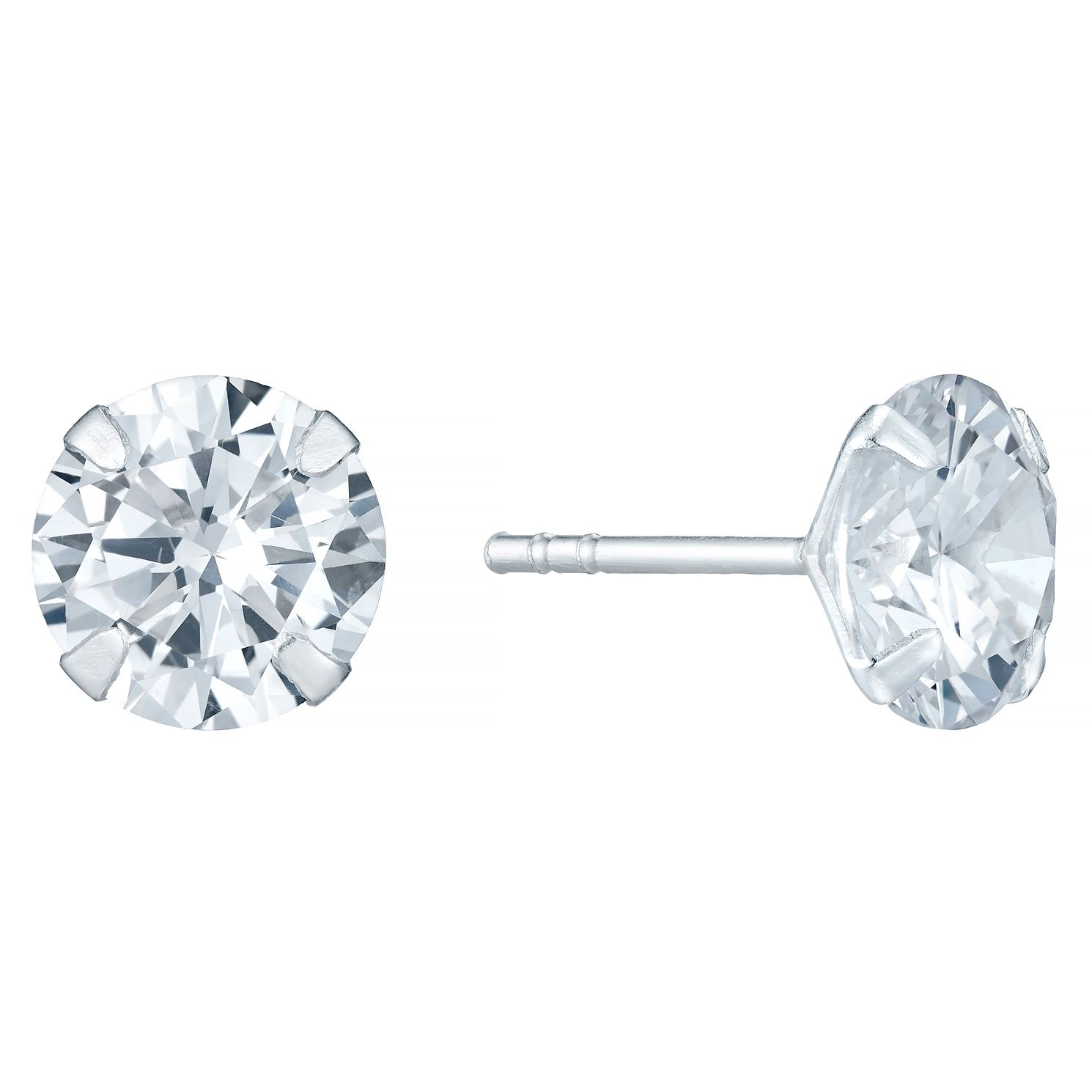 Sterling Silver Cubic Zirconia 8mm Stud Earrings - Product number 4402901