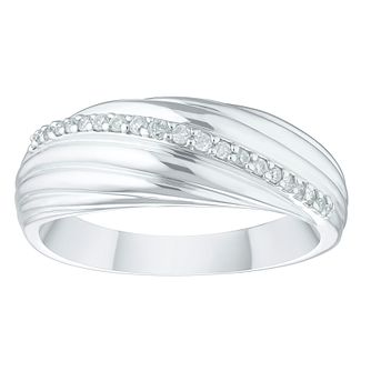 9ct White Gold 0.12ct Diamond Wide Eternity Ring - Product number 4403304