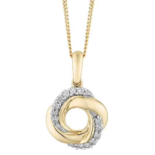 9ct Yellow Gold 0.12ct Diamond Knot Pendant - Product number 4403487