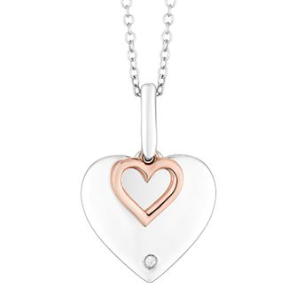 Sterling Silver & 9ct Rose Gold Diamond Love Heart Pendant - Product number 4403533